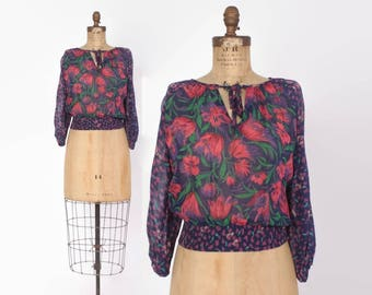 Vintage 70s Gauzy Peasant Blouse / 1970s Bright Floral Semi Sheer Cropped Top