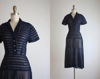 1950s sheer stripe dress