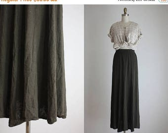 25% SALE forest linen maxi skirt