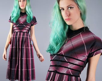 50s Plaid Dress Pink and Black Dress 1950s Day Dress Gradient Plaid Dress Peter Pan Collar Ribbon Waist Dress