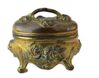 Vintage or Antique Oval Handled Spelter Roses Footed Vanity Ring Box