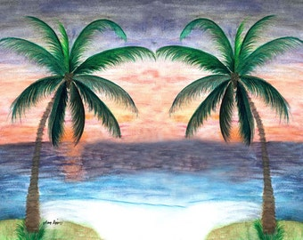 Sunset palm trees place mats from my art. Available as laminate , woven cotton or polyester.