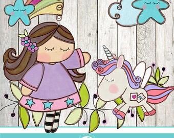 Cute unicorn cliparts - COMMERCIAL USE OK