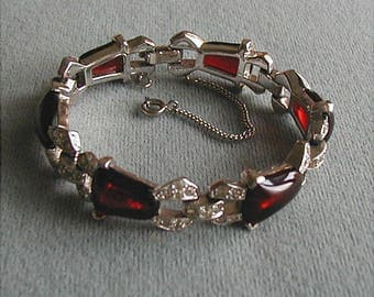 1940s Mazer Brothers Red Glass Rhinestone Bracelet