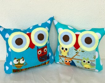 Two  polyfil Stuffed owl family little owl pillows decoration/collection - Ready to ship