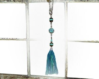 Tassel Window Prism - Bohemian Suncatcher. Turquoise Blue Indonesian and Gemstone Beads