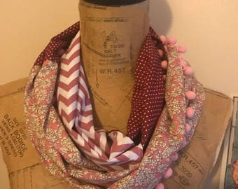 Infinity Scarf - Mixed Fabric Infinity Scarf - Infinity Scarf with PomPom detail - Scarf - Handmade Scarf - Gift - Travel - Accessory