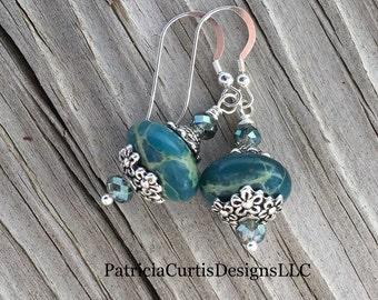 Blue Jasper and Crystal Earrings Sterling Silver Earwires
