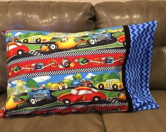 Race Cars Standard Pillowcase - race car and checker flag fabric by south sea fabrics - 1 each