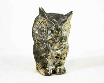 Vintage Metal Owl Figurine. Made in Japan. Circa 1960's.