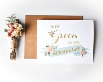 Wedding Day Card // To my Groom on our wedding day // Message for the groom // Note for the groom //  To my bride // To my groom