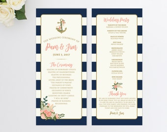 Wedding Program  Nautical Wedding Program  Order of Ceremony  Anchor Wedding Program  Wedding Ceremony Program  Beach