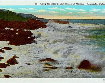 Vintage California Postcard - Surf and Rocky Shores of the Monterey Peninsula (Unused)