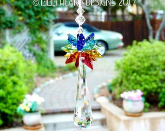 m/w Swarovski Crystal 63mm Flow with Chakra Star Top Suncatcher Ornament Rainbow Maker Car Charm for Home or Auto Lilli Heart Designs