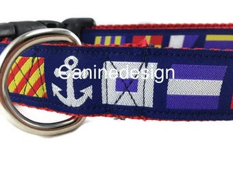Dog Collar and Leash, Nautical Flags, 6ft leash, 1 inch wide, adjustable, quick release, metal buckle, chain, martingale, hybrid, nylon