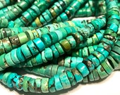 REAL TURQUOISE heishi full 15 inch long strand great color great deal