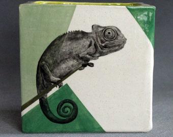 Hand Painted Chameleon Portrait Medium Pencil Box Vase Green Color Blocking
