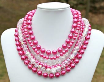 Hot Pink Pearl STATEMENT Necklace Lush Chunky Multi Strand Feminine Sparkle Swarovski Crystals Summer Fashion Couture Chic Style Mei Faith