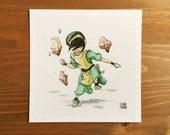 Avatar Toph Watercolor Print 5x5 by Kendra Minadeo Limited Edition Nursery Art, Baby Art, Nursery Decor, The Last Air Bender