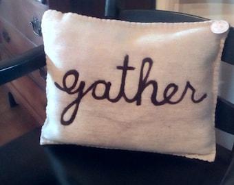 Gather wool pillow