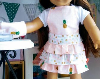 18 inch doll apron set - tiny pineapples and dots
