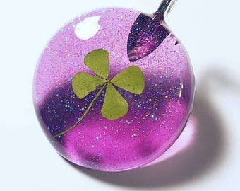 Real Four Leaf Clover Resin  Nature Necklace Pendant Bohemian Jewelry Glitter Purple Green 4 Leaf Lucky Sparkles