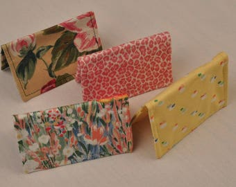 Assorted Spring Card Cases Small Wallet Upcycled Fabrics