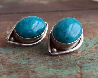 Vintage Large Chunky Mexico Clip earrings Turquoise glass Cab 925 Silver Stamp
