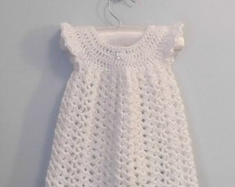 White Angel Wings Pinafore Crochet Dress  3-6 months - ready to ship