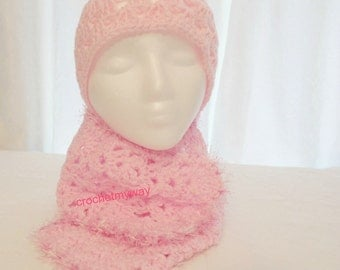 Lovely Pink Shell Hat and Scarf Set - one size fits all women - one and only - ready to ship