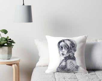 Mermaid Mask Portrait Cushion Cover, Fantasy Illustrated Throw Pillow, Fairy Tale Drawing Water Nymph Faerie Pillow Slip