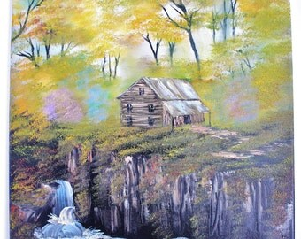 Bob Ross Wilderness Alaska Autumn Misty Forest Cabin by Waterfalls Trees Landscape Oil Painting, 16 x 20 Stretched Canvas