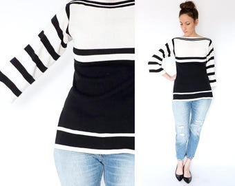 vintage 70s black + white BELL SLEEVE striped sweater S-M