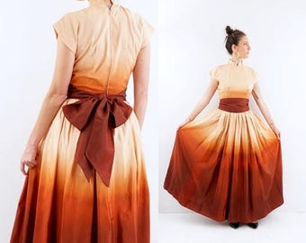 SPRING SALE STUNNING vintage 40s Ombre taffeta Gown dress S-M