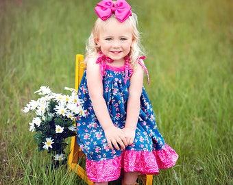 Sapphire Sun Dress, Blue floral dress, blue and pink dress, twirl dress, summer dress, sun dress, sister dress, from Melon Monkeys