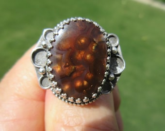 CULTURE CRAZE from CHIHUAHUA - Sterling Silver Mexican Fire Agate Ring - Size 8 1/2 - Free Resizing