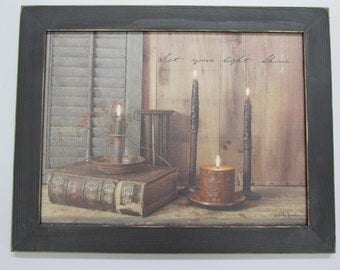 "Primitive Wall Decor,Primitive Candles,BillyJacob,Handmade Distressed Frame,Let Your light Shine,181/2""x141/2"""