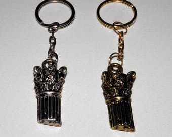 Ancient Greek Column Keychain Silverplated or Bronze Plated - Greek souvenirs - Greek Metal charm Keyring - Gift Wrap