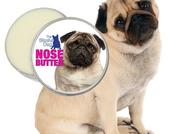 Pug ORIGINAL NOSE BUTTER® All Natural, Handcrafted Salve Conditions Dry Dog Noses 4 oz. Tin Your Choice of Fawn, Black or Pug Duo Label