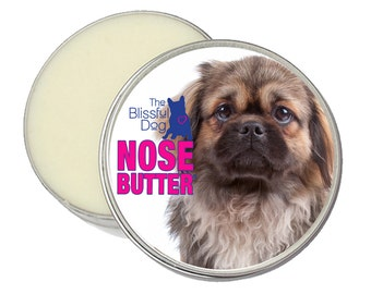Tibetan Spaniel ORIGINAL NOSE BUTTER® All Natural Balm for Dry Crusty Dog Noses Choices: 1 oz, 2 oz or 4 oz tin with Tibetan Spaniel label