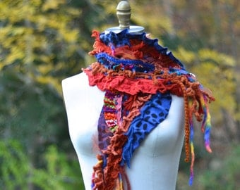 Orange blue textured SCARF/ Wrap with ruffles. Colorful boho  OOAK unique up cycled refashioned  accessory