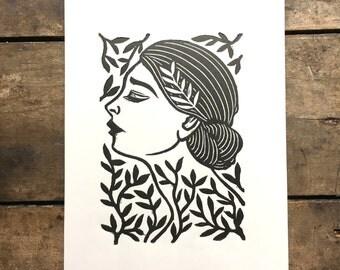 Odette | Linoleum Print of girl on paper