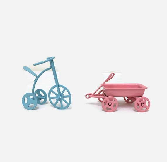 Miniature Tin Wagon and Tricycle - Blue & Pink - Dollhouse, Diorama, Cake Topper - Baby Shower Decor