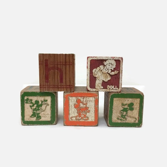 Vintage Wooden Blocks with Mickey Mouse - Embossed - Photo Prop - Home Decor