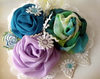 Fabric Brooch, Flower brooch, Boho corsage, Boho wedding, Bridal corsage, Fascinator, Pin fabric brooch, Chiffon flowers, Art to wear, Gift