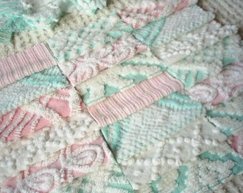 Vintage Chenille Bedspread Squares in Aqua and Pink-Sweet-21-6""
