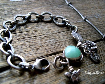 Sterling Silver Jewelry  -  Nature Inspired Bracelet  -  Handmade Chain Bracelet  -  SimpleeSilver Jewelry  -  Bezel Set Gemstone Bracelet