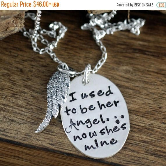 15% OFF SALE I used to be her Angel now she's Mine Necklace. Remembrance necklace, Angel wing necklace, Memorial Necklace, Loss of Loved one