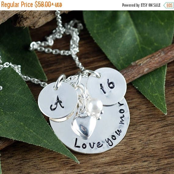 15% OFF SALE Personalized Sweet 16 Jewelry, Hand Stamped Jewelry, Personalized Necklace, Birthstone Jewelry, Gift for Her, Love you More Nec
