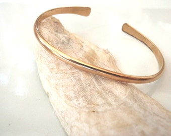 Gold Cuff Bracelet, Smooth, Simple, Handmade 14k Gold Filled over 7 inches